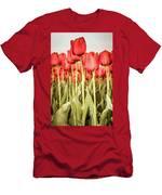 Red Tulip Field In Portrait Format. Men's T-Shirt (Athletic Fit) by Anjo Ten Kate