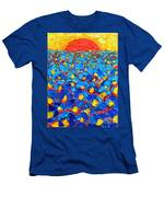 Abstract Blue Poppies In Sunrise -original Oil Painting Men's T-Shirt (Athletic Fit)