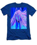 Horse Abstract Blue And Purple Men's T-Shirt (Athletic Fit)
