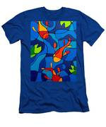 Koi Joi - Blue And Red Fish Print Men's T-Shirt (Athletic Fit)
