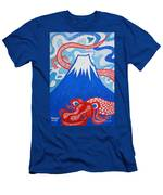 Mt. Fuji And A Red Dragon Men's T-Shirt (Athletic Fit)