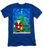 Santa And Reindeer In Winter Snow Scene Men's T-Shirt (Athletic Fit)