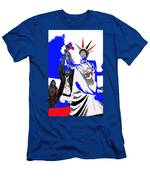 Lady Liberty's Torch Adjusted Parade Tucson Arizona Color Added Men's T-Shirt (Athletic Fit)