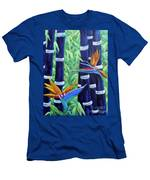 Abstract Bamboo And Birds Of Paradise 04 Men's T-Shirt (Athletic Fit)