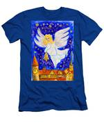 Angel With Christmas Bell Men's T-Shirt (Athletic Fit)