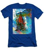 Crazy Red House In The Clouds Whimsy Men's T-Shirt (Athletic Fit)