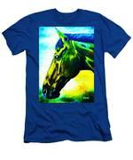 horse portrait PRINCETON vibrant yellow and blue Men's T-Shirt (Athletic Fit)