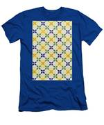 Painted Patterns - Floral Azulejo Tiles In Blue Green And Yellow Men's T-Shirt (Athletic Fit)