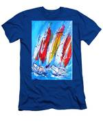 Red Sails On Blue  Men's T-Shirt (Athletic Fit)