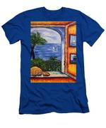 Window With Coral Men's T-Shirt (Athletic Fit)
