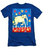 Yellow Elephant Facing Right Men's T-Shirt (Athletic Fit)