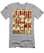 Building Facade Line Art Men's T-Shirt (Athletic Fit)