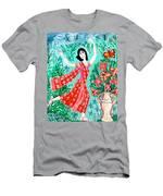 Dancer In Red Sari Men's T-Shirt (Athletic Fit)