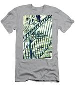 Mosaic And Iron Staircase La Quinta California Art District In Mint Tones Photograph By Colleen Men's T-Shirt (Athletic Fit)