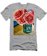 Pink Ruffled Peonies Men's T-Shirt (Athletic Fit)