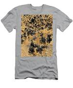Waxleaf Privet Blooms On A Sunny Day In Black And White - Color Invert With Golden Tones Men's T-Shirt (Athletic Fit)
