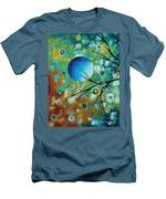 Abstract Art Original Landscape Painting Colorful Circles Morning Blues I By Madart Men's T-Shirt (Athletic Fit)