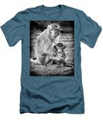 Mother And Baby Monkey Black And White Men's T-Shirt (Athletic Fit)