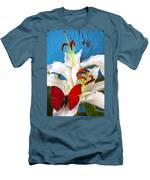 Red Butterfly On White Tiger Lily Men's T-Shirt (Athletic Fit)