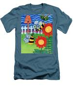 Two Bees With Red Flowers Men's T-Shirt (Athletic Fit)