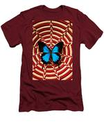 Blue Black Butterfly In Basket Men's T-Shirt (Athletic Fit)