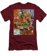 Geraniums And Cats Men's T-Shirt (Athletic Fit)