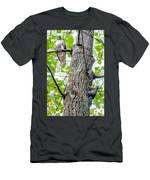 Hawk Hunting For A Squirrel On An Oak Tree Men's T-Shirt (Athletic Fit)