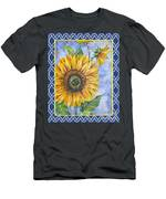 Audrey's Sunflower With Boarder Men's T-Shirt (Athletic Fit)