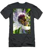 Close Up Of Passion Flower With Honey Bee  Men's T-Shirt (Athletic Fit)
