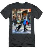 Daddy Pushing Stroller Greenwich Village Men's T-Shirt (Athletic Fit)