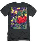 Red Geranium With Yellow And Purple Flowers - Vertical Men's T-Shirt (Athletic Fit)