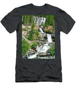 Tangle Falls Along Icefield Parkway In Alberta Men's T-Shirt (Athletic Fit)