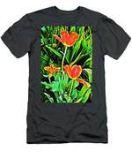 Three Orange Parrots  Men's T-Shirt (Athletic Fit)