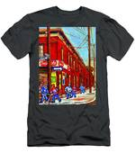 When We Were Young - Hockey Game At Piche's - Montreal Memories Of Goosevillage Men's T-Shirt (Athletic Fit)