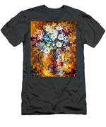 White Flowers - Palette Knife Oil Painting On Canvas By Leonid Afremov Men's T-Shirt (Athletic Fit)