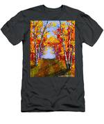 White Birch Tree Abstract Painting In Autumn Men's T-Shirt (Athletic Fit)