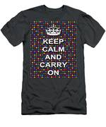 Keep Calm And Carry On Poster Print Blue Green Red Polka Dot Background Men's T-Shirt (Athletic Fit)