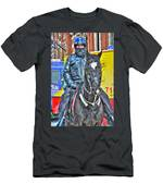Officer And Black Horse Men's T-Shirt (Athletic Fit)