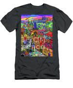 Prague Panorama With Charles Bridge Men's T-Shirt (Athletic Fit)
