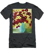 Red And Yellow Bouquet In Blue Men's T-Shirt (Athletic Fit)