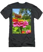 A Butterfly On The Pink Zinnia Men's T-Shirt (Athletic Fit)