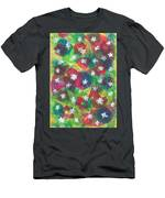 Abstract Circles With Flowers Men's T-Shirt (Athletic Fit)