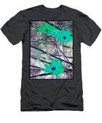 Abstract Flowrs In Green And Blue Men's T-Shirt (Athletic Fit)
