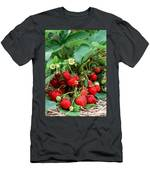 Closeup Of Fresh Organic Strawberries Growing On The Vine Men's T-Shirt (Athletic Fit)