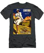 Cortina Dolomiti Italy Vintage Poster Restored Men's T-Shirt (Athletic Fit)