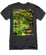 Geese By Pond In Autumn Men's T-Shirt (Athletic Fit)