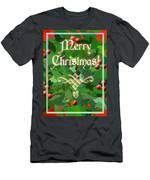 Merry Christmas With Holly Men's T-Shirt (Athletic Fit)