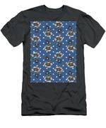 Vintage Wallpaper Seamless Rose Flower Pattern On Circles Polka  Men's T-Shirt (Athletic Fit)