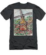 Windmill And Tulips  Men's T-Shirt (Athletic Fit)