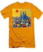 Abstract Sunset Over Sagrada Familia In Barcelona Men's T-Shirt (Athletic Fit)